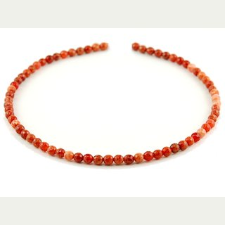 Fire agate strand - faceted spheres 6 mm red orange, length 39.5 cm /1182