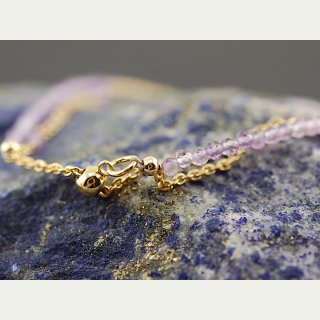 Delicate ametrine bracelet - faceted 2 mm lilac, gold /8854