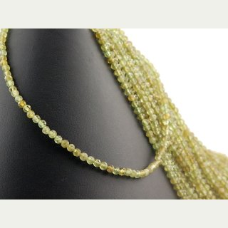 Peridot strand - faceted spheres 4 mm green, length 38 cm /1448