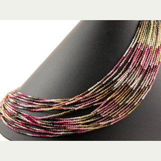 Tourmaline strand - faceted spheres 2 mm multicolor, length 45 cm /4443