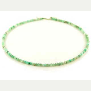 Chrysoprase strand - faceted rondelle 3x3.5 mm mint green, length 39 cm /4507