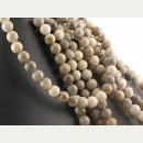 Fossil coral strand - spheres 8 mm grey beige, length 39...