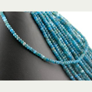 Apatite strand - faceted rondelle 3x4 mm blue, length 39cm /4695