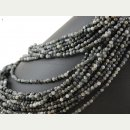 Hawks eye strand - round faceted, 4,5 mm grey-black,...