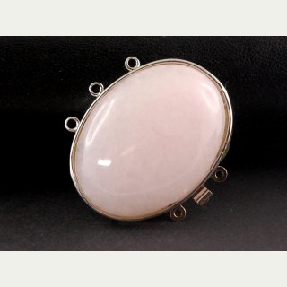 3226 / Rose quartz box clasp, silver-plated, 30x40 mm