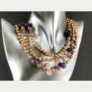9712/ Necklace - muscovite, peridot, amethyst and pearls...