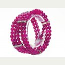 5reihiges Armband - Achat, 6 mm in magenta / 8951