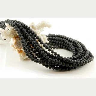 Lava strand - spheres 6 mm black, length 38.5 cm /5059