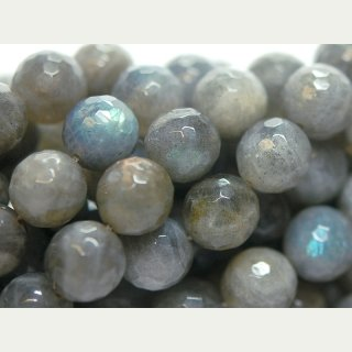 2214/ labradorite strand - faceted, 12 mm, grey - 37 cm